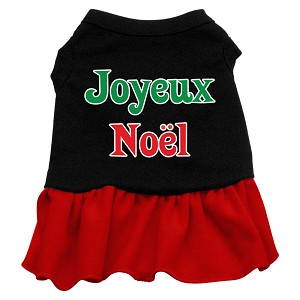 Joyeux Noel Screen Print Dress Black with Red XXL (18)